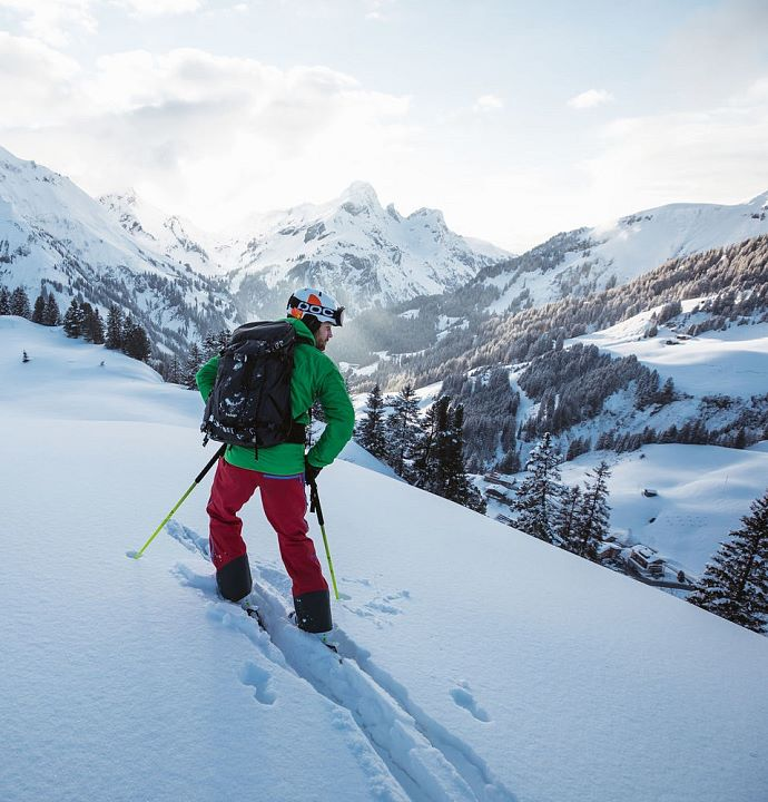 Untouched slopes while skiing in Warth am Arlberg